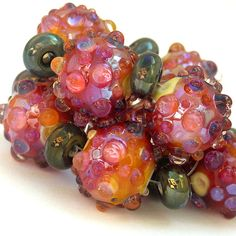 Wild Berries - Handmade Lampwork Bead Set