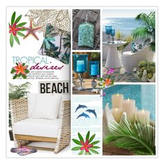 """Tropical Desires"" by nonniekiss ❤ liked on Polyvore featuring interior, interiors, interior design, home, home decor, interior decorating, HomArt, Grandin Road and Gandys"