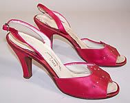 1950s  Ferncraft Fuschia Pink Silk Satin Rhinestone Sling Back Evening Shoes
