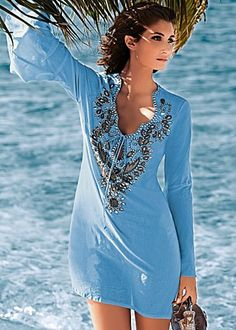 Blue (BL) Embellished Tunic $33  Take the blues to the depths of beautiful and beyond. · Ornate rhinestone and beading detail at neckline  · Self tie at front keyhole  · 100% Cotton  · Imported ·Style #J3236