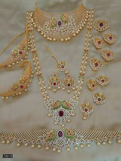 bridal sets & bridesmaid jewelry sets – a complete bridal look Indian Jewelry Sets, Silver Jewellery Indian, Indian Wedding Jewelry, Gold Jewellery, India Jewelry, Temple Jewellery, Indian Weddings, Indian Bridal, Beaded Jewelry