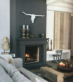 Hottest Free of Charge Fireplace Remodel blue Popular 45 perfect modern fireplaces for winter decor ideas 30 – Homeadzki Website Black Fireplace Surround, Fireplace Accent Walls, Grey Fireplace, Home Fireplace, Fireplace Remodel, Fireplace Surrounds, Fireplace Design, Fireplace Ideas, Modern Fireplace Decor