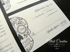 Day of the Dead / Dia de los muertos Invitation Set in Pink, Charcoal gray and Ecru on Etsy, $2.00