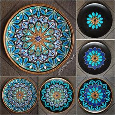Handmade with l❤️VE ( Dot Art Painting, Ceramic Painting, Painting On Wood, Ceramic Art, Mandala Drawing, Mandala Painting, Painted Ceramic Plates, Pottery Painting Designs, Moroccan Art