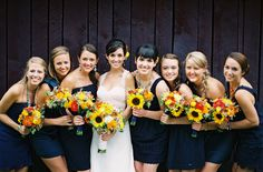 Navy and Sunflower Bridesmaids   Cedarwood Wedding featured on Green Wedding Shoes   Photo by Rylee Hitchner