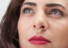 Indian Septum Piercing Septum Ring Gold Large Septum by StudioMeme Septum Jewelry, Septum Ring, Septum Piercings, Ear Jewelry, Tribal Jewelry, Boho Jewelry, Indian Jewelry, Gold Rings, Piercing Ideas