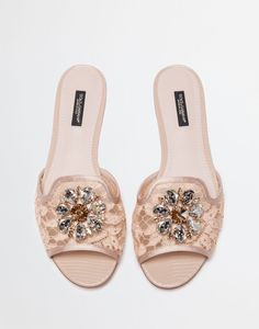 Dolce & Gabbana Belluci Crystal-embellished Lace Slides In Neutrals Rainbow Laces, Jeweled Sandals, Cute Sandals, Shoes Sandals, Custom Shoes, Shoe Collection, Wedding Shoes, Fashion Shoes, Shoe Boots