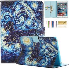 iPad Mini Case, Dteck(TM) Colorful Printed Synthetic Leather Flip Wallet Case with [Auto Wake/Sleep Function] for Apple iPad Mini 1 2 3 with Cleaning Cloth & Stylus Pen (01 Blue Waterspout)