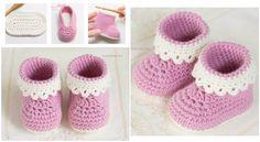 Pink Lady Baby Booties Pattern Crochet - Tutorial