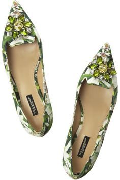 DOLCE & GABBANA Embellished floral-brocade point-toe flats