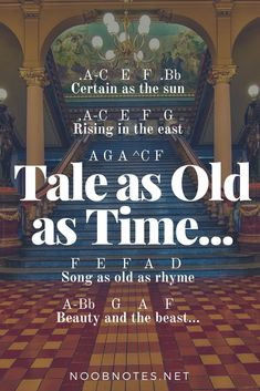 music notes for newbies: Tale as Old as Time – Beauty and Beast (Disney). Play popular songs and traditional music with note letters for easy fun beginner instrument practice - great for flute, piccolo, recorder, piano and Piano Sheet Music Letters, Clarinet Sheet Music, Easy Piano Sheet Music, Music Chords, Piano Music Notes, Violin Music, Music Sheets, Keyboard Notes For Songs, Sheet Music With Letters