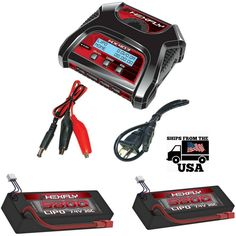 Redcat Hexfly HX-403 Dual Battery Charger & 2 5800mah 7.4v LiPo Packs w…