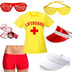 Ladies Lifeguard Fancy Dress Costume - Red Yellow Baywatch Style Tshirt Shorts