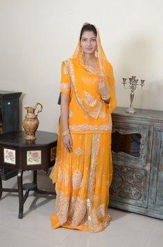 #Yellow #Georgette #Poshak With Gold Zardosi Work #Casual, #Ceremonial, #Festival, #Mehendi, #Wedding #Bridal #Mokshafashions #Rajputiposhak #Designerposhak Ethnic Fashion, Cute Fashion, Indian Fashion, Fashion Fashion, Rajasthani Dress, Rajputi Dress, Indian Bridal Lehenga, Royal Dresses, Shower Dresses