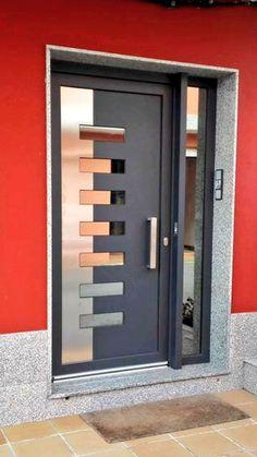 Super Ideas for entrance door ideas main Double Door Design, Main Door Design, House Front Design, Aluminum Screen Doors, Aluminium Doors, Iron Doors, Modern Entrance, Modern Door, Entrance Doors