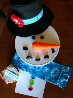 "Just Add Snow {Neighbor Gift}....give the hat, rocks, fake carrot, scarf, buttons in a box with a tag that says ""just add snow"" super cute idea if you live where it snows."