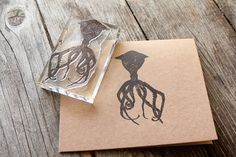 Octopus Rubber Stamp - 2x3 Inches