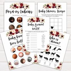 Amazing Marsala floral baby shower games bundle. These are the best games to have at any baby shower event #babyshowergames #babyshower #babygames #itsaboy #itsagirl #genderevealgames #marsalatheme #marsalababyshower