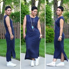 So glad I ordered this before it was blogged about and then sold out.  Mine is wine and yes, I wear with Chucks too! CASUAL FRIDAY GAP DRESS - Mimi G Style