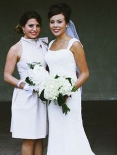 Bride and maid of honour-white hydrangea