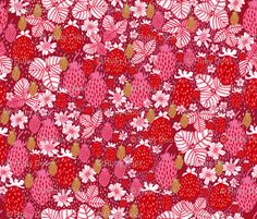 Strawberry Field Floral fabric by rubydoor on Spoonflower - custom fabric Textile Prints, Textile Design, Textiles, Fabric Patterns, Print Patterns, Strawberry Fields, Strawberry Shortcake, Japanese Fabric, Fabulous Fabrics