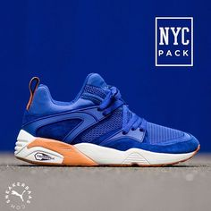 #puma #pumanycpack #nycpack #nyc #blazeofglory #r698 #sneakerbaas #baasbovenbaas  Puma Blaze of Glory NYC pack- Puma brings us the NYC pack, with two Knicks and two Yankees colorways. This Blaze Of Glory is overflowing with luxurious suede in a clean, blue colorway. Orange accents flourishes on the midsole, pulltab and outsole.  Now online available | Priced at 149.95 EU | Men Sizes 40- 45 EU