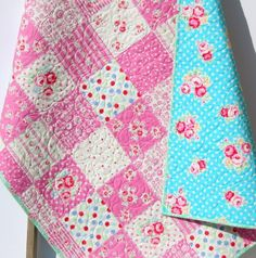 Shabby Chic Quilt, Pink Roses Flowers Crib Bedding, Nursery Blanket, Girl Patchwork