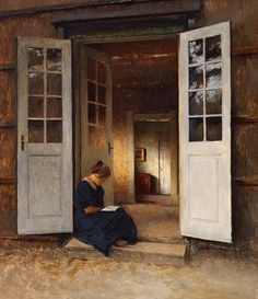 Peter Ilsted (1861-1933) Young Girl reading in the Doorway