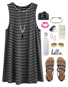 """""""schoolz out"""" by lillianjester ❤ liked on Polyvore featuring Billabong, Charlotte Russe, Ray-Ban, Kendra Scott, Sonix, Mercedes-Benz, Topshop, S'well and Eos"""