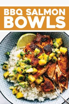 BBQ Salmon Bowls with Mango Avocado Salsa! An easy and impressive dinner with yummy smoky-sweet flavor and a zip of zesty homemade salsa to take it over the top. The BEST weeknight dinner. #salmon #dinner #seafood #bbq | pinchofyum.com Salmon Recipes, Seafood Recipes, Pasta Recipes, Dinner Recipes, Cooking Recipes, Healthy Recipes, Mango Recipes, Bbq Fish Recipes, Bbq Dinner Ideas