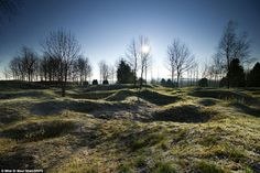 landscape near Verdun, nearly 100 years later still scarred by shell craters