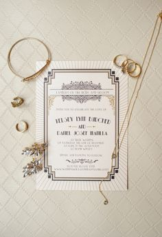 Details We Love From This Inspired Wedding 10 Details We Love From This Inspired Wedding An elegant Art Deco invitation got guests excited for the stylish event! Shabby Chic Wedding Invitations, Vintage Wedding Stationery, Art Deco Wedding Invitations, Vintage Wedding Cards, Great Gatsby Invitation, Vintage Weddings, Retro, Gatsby Wedding, Rustic Wedding