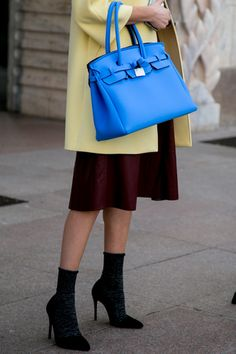 Day 11: Achieve effortless style with small details like pairing socks with heels + adding a bright hued bag