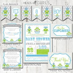 Digital Printable Robots in Lime Green and Blue Baby Shower Party Package includes Invitations, Banner, Diaper Raffle Tickets, Book Inserts, Thank You Notes, Food Table Labels, Cupcake Toppers, Cupcake Wrappers, Prediction Games, Bingo, Baby Wishes Cards, Guess the Baby Food Game by HeadsUpGirls, $45.00