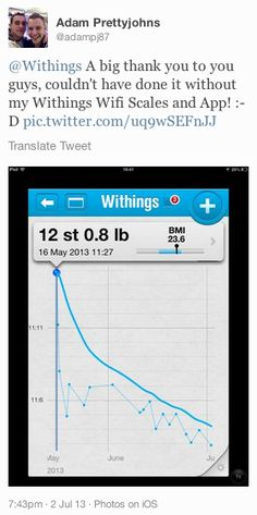 "Adam Prettyjohns (twitter.com/adampj87) tweeted: "" Withings A big thank you to you guys, couldn't have done it without my Withings Wifi Scales and App! :-D pic.twitter.com/uq9wSEFnJJ "" Learn more: http://www.withings.com/en  #Health #Fitness #DigitalHealth #mHealth #QuantifiedSelf #HeartRate #Pulse #Tracker #SelfTracking #HealthTracking #FitnessTracking"