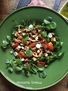 Lukewarm salad with watercress, tofu, buckwheat & shiitake