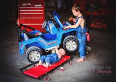childrens photography, styled photography session, mechanic theme