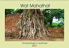 Wat Mahathat - Tempelanlage in Ayutthaya (Wandkalender 2021 DIN A2 quer) Ayutthaya, Hair Styles, Plants, Products, Wall Calendars, Ruins, History, Deutsch, Hair Plait Styles