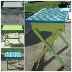 Roadside rescue table into tile beach table. Painted key lime green and Caribbean Sea. Tiled with resin top