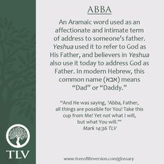 TLV Glossary Word of the Day: Abba #tlvbible