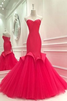 Red Sweetheart Mermaid Party D Prom Dresses SweepTulle Princess Back Guest Gowns Pageant Formal Gowns