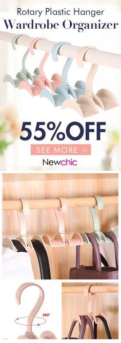 [Click to BUY] --UP to 55% OFF -- Rotated Storage Rack Bag Hanger Plastic Clothes Rack Creative Tie Closet Hanger Wardrobe Organizer #newchic#newchichome#organizer