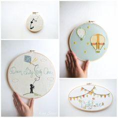 Custom Nursery Art Embroidery Hoop Set Wall Art por KingSoleil, $178.00