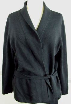 Lands' End Wrap Sweater XL 18-20 Black Polyacryl Blend Long Sleeve Casual dressy #LandsEnd #WrapSwing #casual