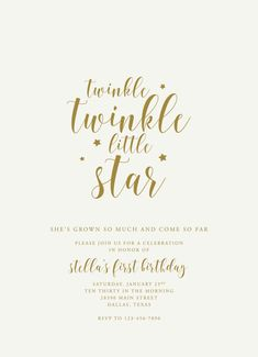 Twinkle twinkle little star first birthday girl by PenandParcel