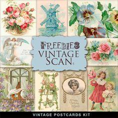 New Freebies Vintage Postcards Kit