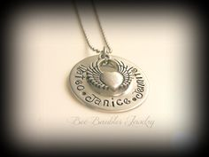 Hand Stamped Jewelry Personalized Heart and Wings - Hand Stamped Stainless Steel