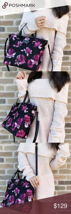 """Kate spade Wilson rose alyse Satchel black pink Floral/rose design  Nylon with Saffiano leather trim  10.5"""" H x 11"""" W x 3.5"""" D  Satchel with snap closure  Double zip pockets on front and back  Interior zipper pocket and 2 slide pockets kate spade Bags Satchels"""