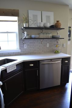 Shelving and dishwasher placement with corner sink