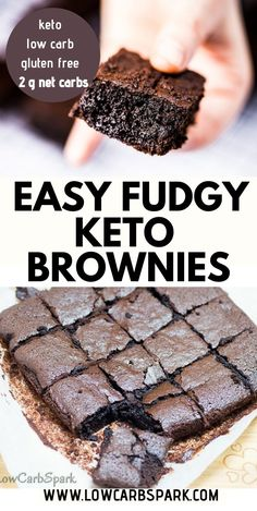 Easy Keto Brownies recipe is so fudgy, chocolatey, and less than net carbs a piece. Try these low carb brownies that melt in your mouth made with only 7 ingredients. Recipe via LowCarbSpark – Keto Recipes Desserts Keto, Desserts Sains, Keto Dessert Easy, Dessert Recipes, Diabetic Friendly Desserts, Simple Keto Desserts, Carb Free Desserts, Stevia Desserts, Cream Cheese Desserts